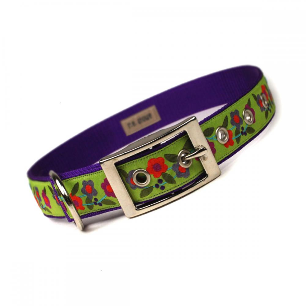 lime and purple floral metal buckle dog collar (1 inch)
