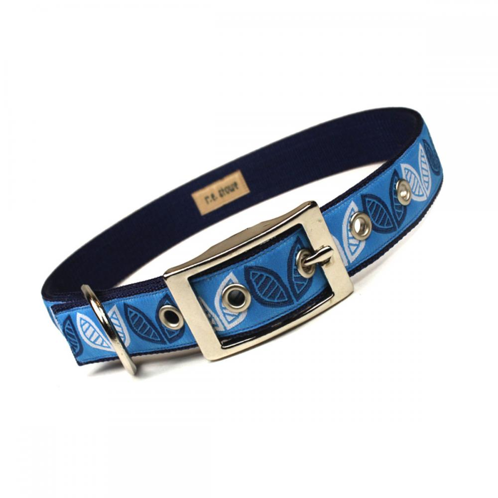 mod blue leaves metal buckle dog collar (1 inch)