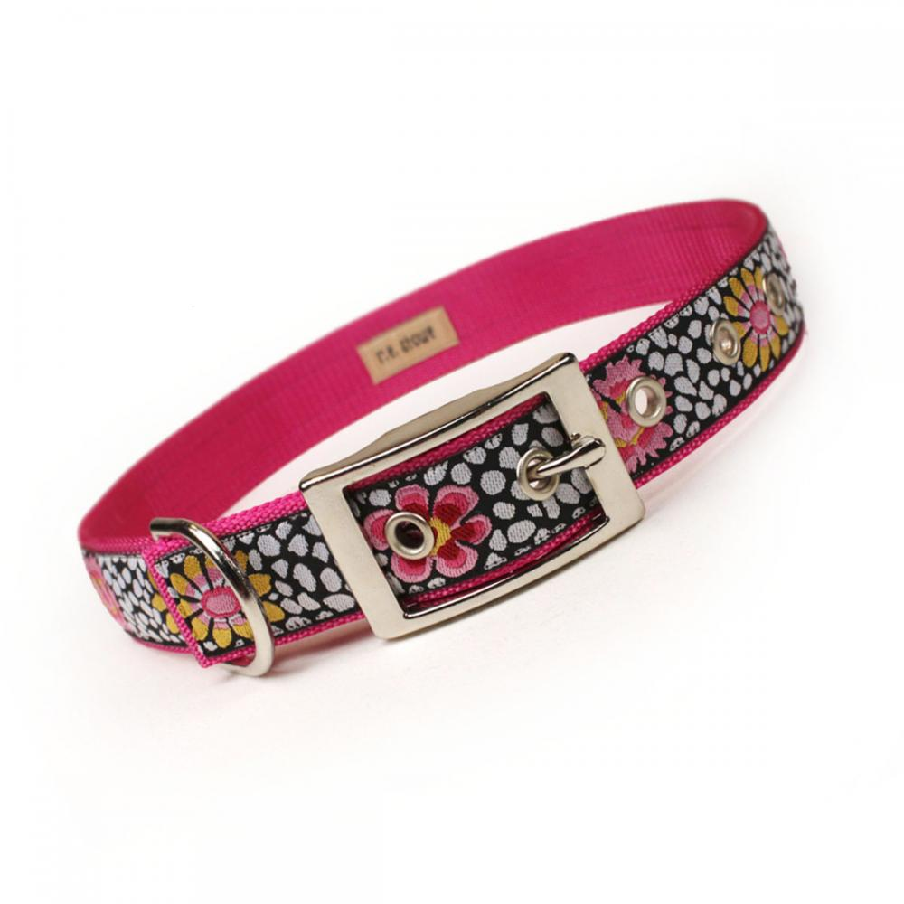pink and black bold floral metal buckle dog collar (1 inch)