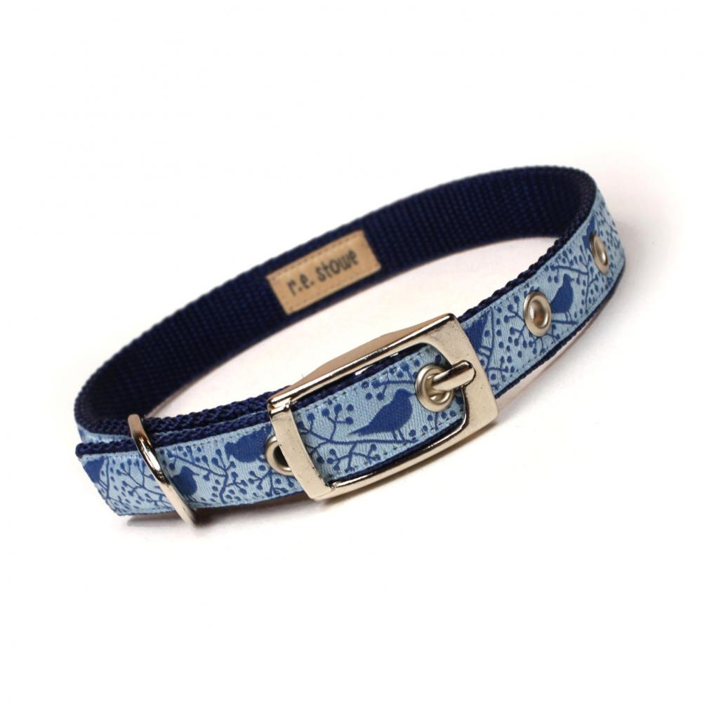 blue modern birds metal buckle dog or cat collar (1/2 inch)